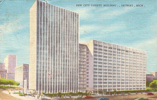 New City County Building in Detroit Michigan MI, 1958 Linen Postcard - 2582