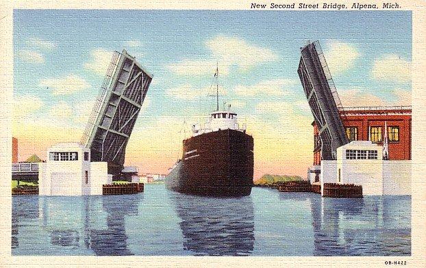 Ship Passing Through Second Street Bridge in Alpena Michigan MI, Curt Teich Linen Postcard - 2593