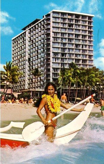Outrigger Hotel on Waikiki Beach Honolulu Hawaii HI, Chrome Postcard - 2600