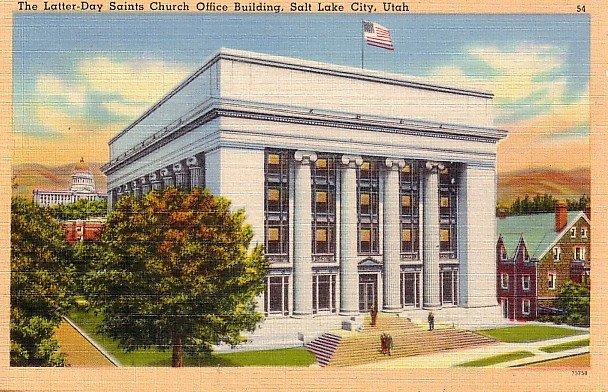 The Latter Day Saints Church Office Building in Salt Lake City Utah UT, Linen Postcard - 2611