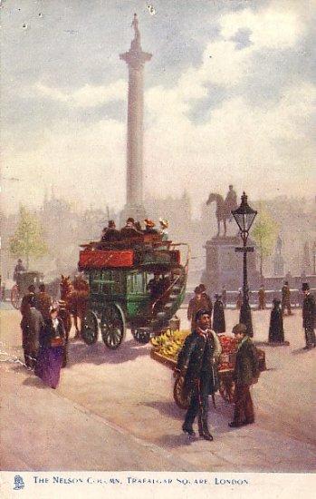 The Nelson Column at Trafalgar Square in London UK Raphael Tuck & Sons Postcard - 2616