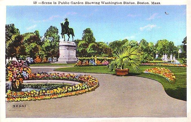 Public Garden Showing Washington Statue in Boston MA Massachusetts Linen Postcard - 2663