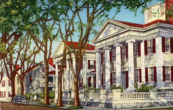 Colonial Homes in Nantucket Massachusetts MA, Curt Teich 1952 Massachusetts Chrome Postcard - 2669