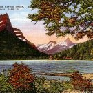 Lake St. Mary from Baring Creek at Glacier National Park in Montana MT, Linen Postcard - 2671