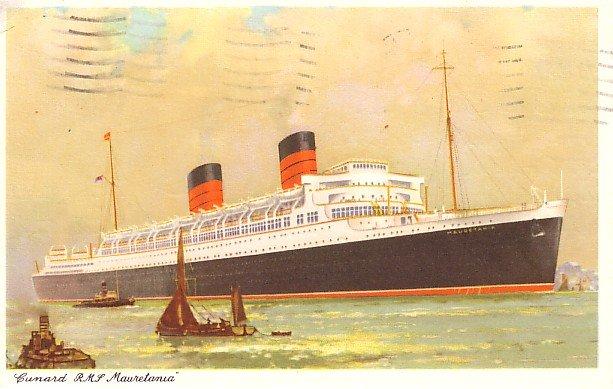 Cunard R.M.S. Mauretania Ocean Liner 1961 Postcard with Air Mail Stamp - 2679
