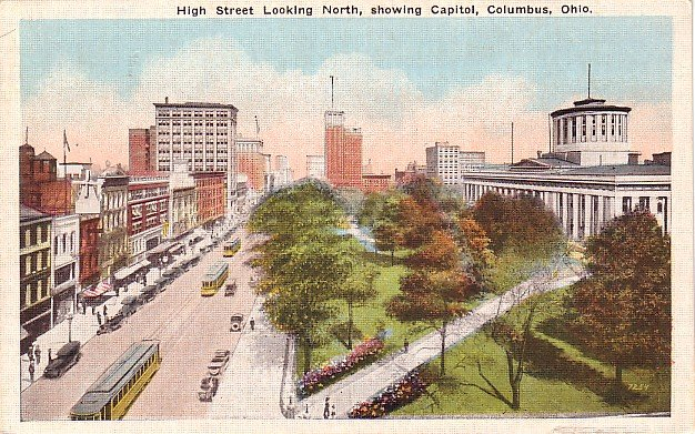 High Street Looking North in Columbus Ohio OH,  Linen Postcard - 2689