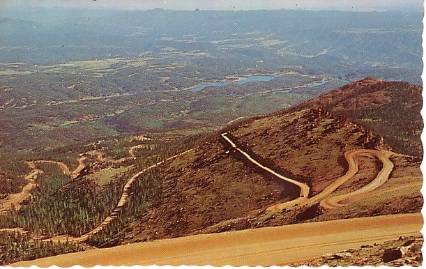 Pikes Peak Highway at Colorado CO, Chrome Postcard - 2691