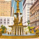 Tyler Davidson Fountain in Cincinnati Ohio OH, Linen Postcard - 2695