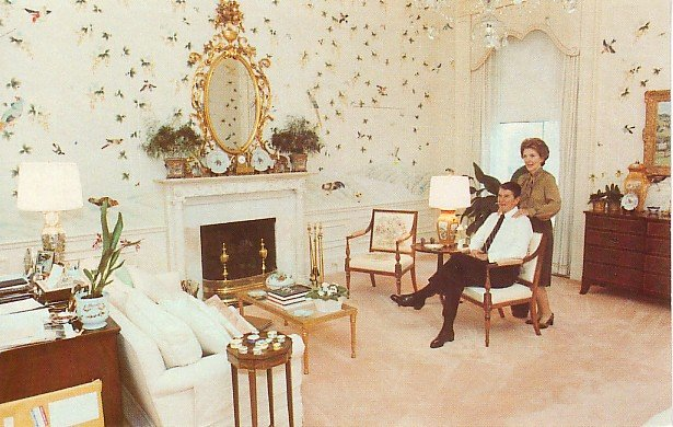 Nancy and Ronald Reagan Relaxing in White House Bedroom 1981 Chrome Postcard - 2703