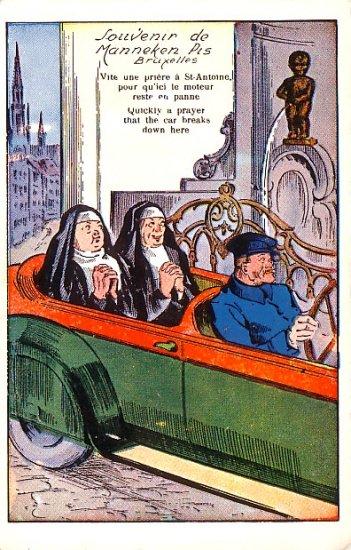 Nuns Praying For Car to Break Down Vintage Comic Postcard - 2706