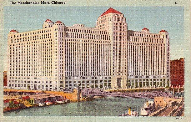 The Merchandise Mart in Chicago Illinois IL, Mid Century Linen Postcard - 2709