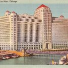 The Merchandise Mart in Chicago Illinois IL, Mid Century Linen Postcard - 2709
