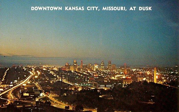 Downtown Kansas City at Dusk in Missouri MO, Chrome Postcard - 2730