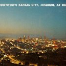 Downtown Kansas City at Dusk in Missouri MO, Chrome Postcard - 2730