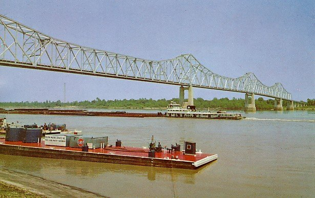 Mississippi Arkansas Bridge in Clarksdale Mississippi MS, Chrome Postcard - 2731