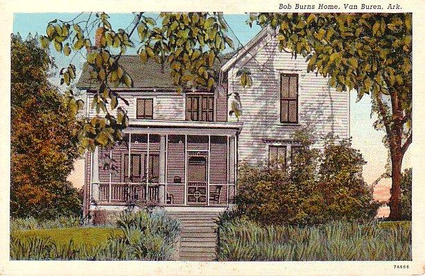 Bob Burns Home in Van Buren Arkansas AR, 1937 Curt Teich Linen Postcard - 2746