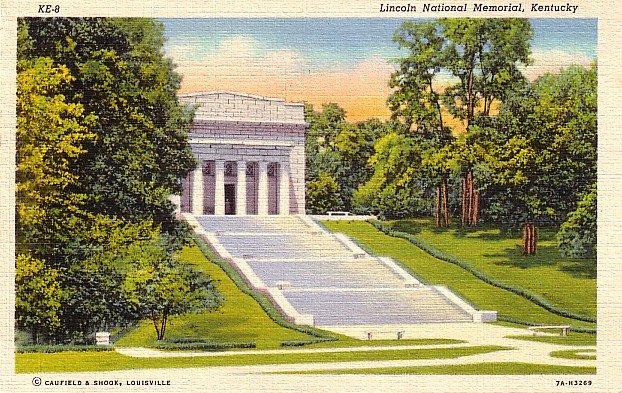 Lincoln National Memorial in Hodgenville Kentucky KY, 1937 Curt Teich Linen Postcard - 2757