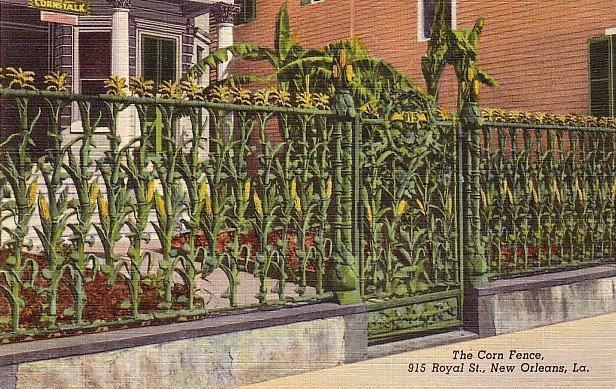 The Famous Corn Fence in New Orleans Louisiana LA, 1941 Curt Teich Linen Postcard - 2766