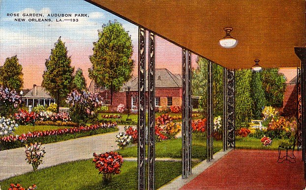 Rose Garden at Audubon Park in New Orleans Louisiana LA, 1947 Linen Postcard - 2778