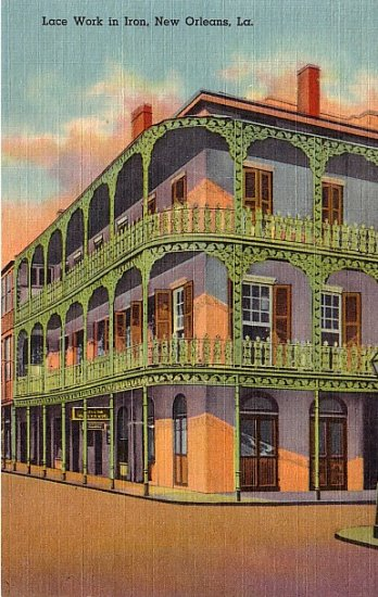 Lace Work in Iron, New Orleans Louisiana LA, 1937 Curt Teich Linen Postcard - 2791
