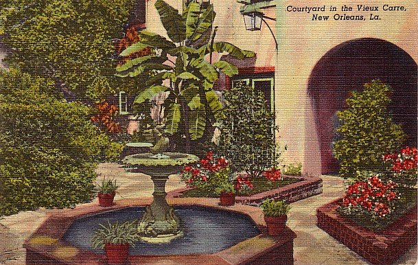 Courtyard in Vieux Carre, New Orleans Louisiana LA, 1947 Curt Teich Linen Postcard - 2797