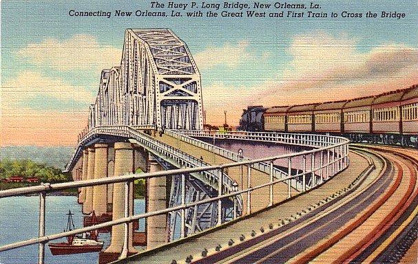 Huey P Long Bridge in New Orleans Louisiana LA, 1939 Curt Teich Linen Postcard - 2803