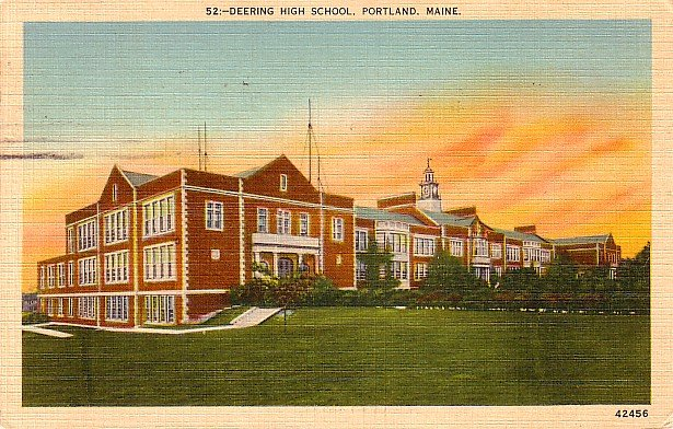 Deering High School in Portland Maine ME, Linen Postcard - 2813