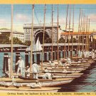 U.S. Naval Academy Sailboat Drill in Annapolis Maryland MD, Linen Postcard - 2826