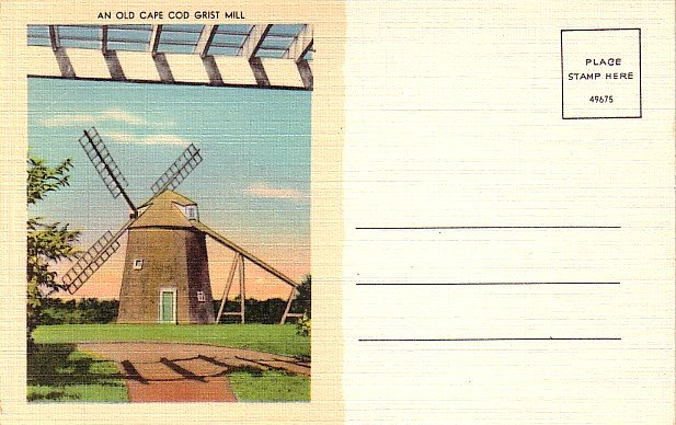 Old Cape Cod Grist Mill in Massachusetts MA, Linen Postcard - 2836