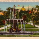 Brewer's Fountain at Boston Common in Massachusetts MA, Linen Postcard - 2843