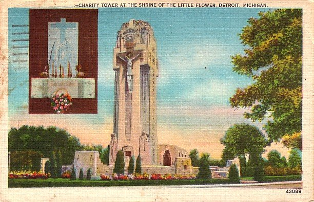 Charity Tower at The Little Flower Shrine in Detroit Michigan MI, Postcard - 2845