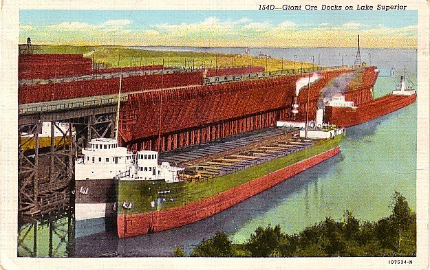 Giant Ore Ships Docking on Lake Superior Michigan MI, Curt Teich Postcard - 2847