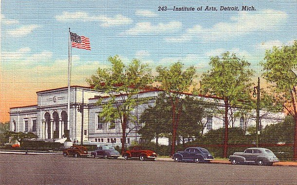 Institute of Arts in Detroit Michigan MI, 1943 Curt Teich Linen Postcard - 2849