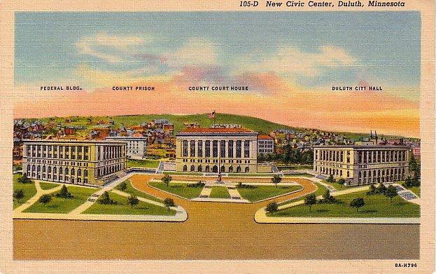 Civic Center in Duluth Minnesota MN, 1938 Curt Teich Linen Postcard - 2858