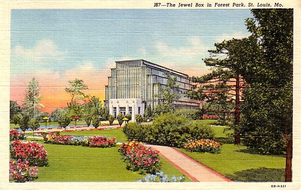 The Jewel Box at Forest Park in St. Louis Missouri MO, 1940 Curt Teich Postcard - 2862