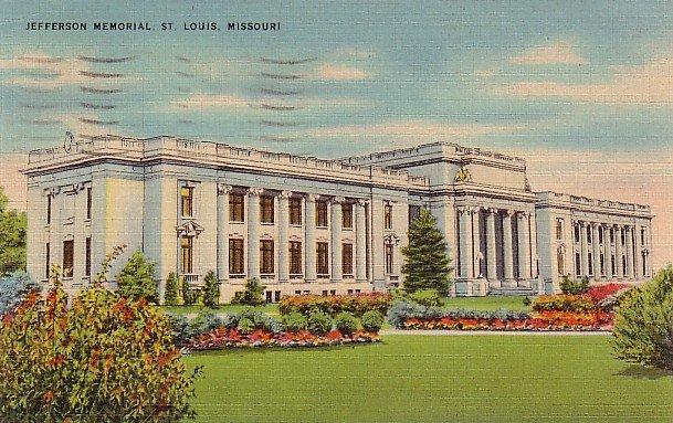 Jefferson Memorial at St. Louis Missouri MO, Mid Century Linen Postcard - 2865