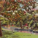 Duck Lake in Forest Park St. Louis Missouri MO Linen Postcard - 2867