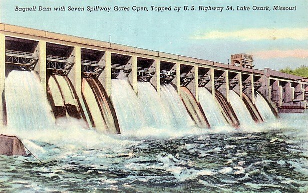 Bagnell Dam at Lake Ozark in Missouri MO, 1943 Curt Teich Linen Postcard - 2870