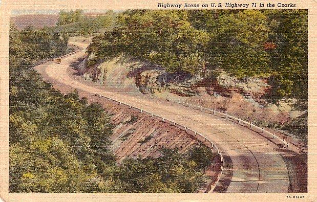 U.S. Highway 71 in the Ozarks, Missouri MO 1937 Curt Teich Linen Postcard - 2871