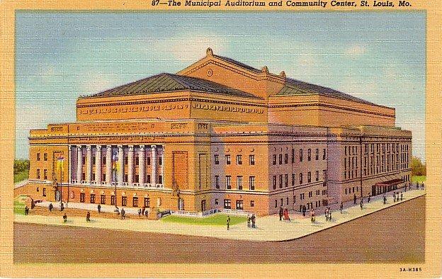 Municipal Auditorium and Community Center in St. Louis Missouri MO, 1933 Curt Teich Postcard - 2872