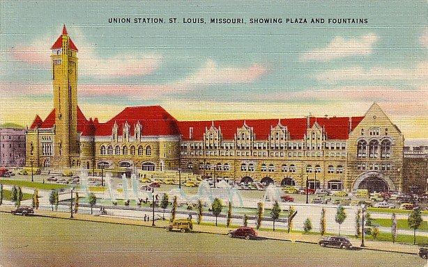 Union Station in St. Louis Missouri MO, Mid Century Linen Postcard - 2874