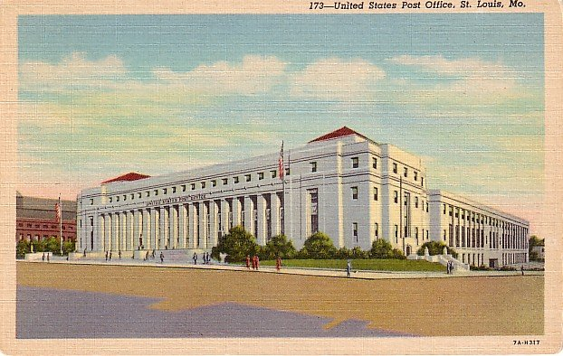 United States Post Office in St. Louis Missouri MO, 1937 Curt Teich Postcard - 2887