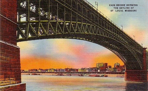 Eads Bridge and St. Louis Missouri MO Skyline, Mid Century Linen Postcard - 2888