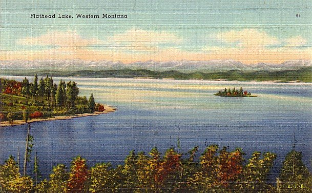 Flathead Lake in Western Montana MT, Mid Century Linen Postcard - 2895