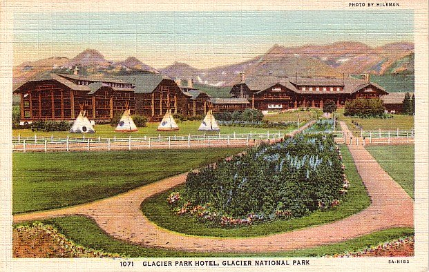 Tepees' at Glacier Park National Park Hotel in Montana MT, 1935 Curt Teich Linen Postcard - 2899