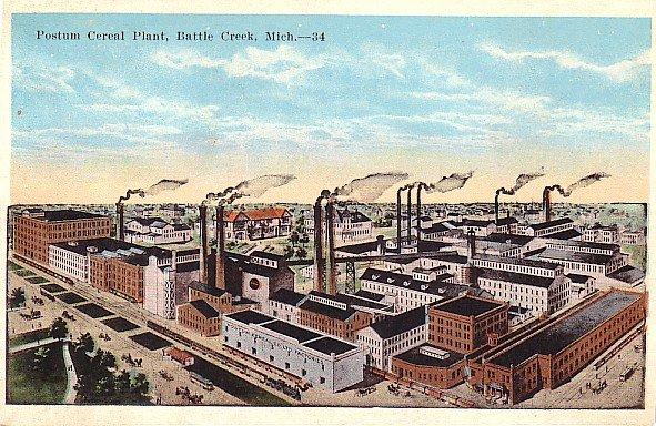 Postum Cereal Plant at Battle Creek Michigan MI, Vintage Postcard - 2904