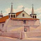Old Church of St. Augustine at Isleta New Mexico NM, 1936 Curt Teich Linen Postcard - 2908