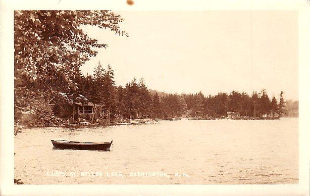 Camps at Mellen Lake in Washington New Hampshire NH, Real Photo Post Card RPPC - 2926