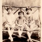 Three Sisters on a Rustic Bench, Real Photo Post Card RPPC - 2925