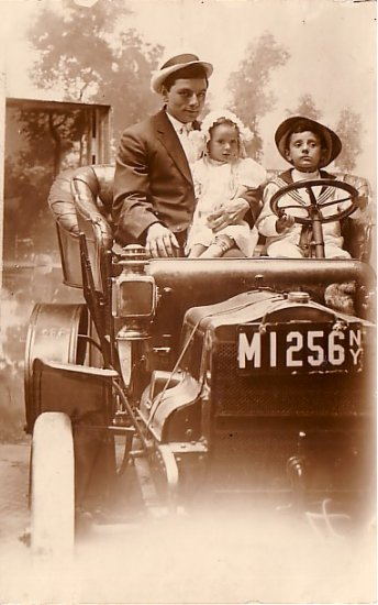 Family Portrait in Vintage Automobile, Coney Island Souvenir Real Photo Post Card RPPC - 2931